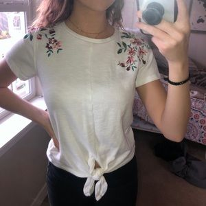 Embroidered flower blouse with knotted front